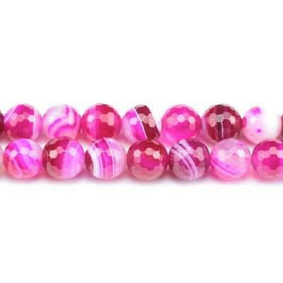 Banded Agate Faceted Round Beads 6mm Fuchsia 60+ Pcs Gemstones Jewellery Making