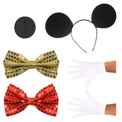 Adults Red Or Gold Cute Miss Mouse Set Ladies Animal Famous Costume Fancy Dress