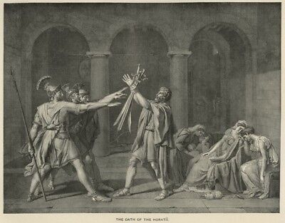 Oath of the Horatii (Sword Play from Roman History) True 1892 Litho Book Plate