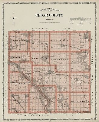 CEDAR County Iowa Map Authentic 1904 (Dated) w/Towns, TWPs, RRs, Topography