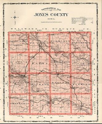 JONES County Iowa Map Authentic 1904 (Dated) w/Towns, TWPs, RRs, Topography