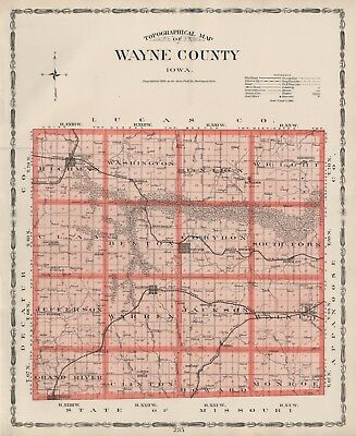 WAYNE County Iowa Map Authentic 1904 (Dated) w/Towns, TWPs, RRs, Topography