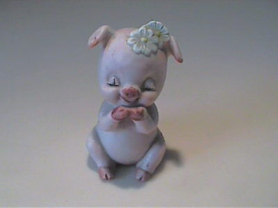 Vintage 1960's Miniature Porcelain Pink Pig With Daisies On Her Head