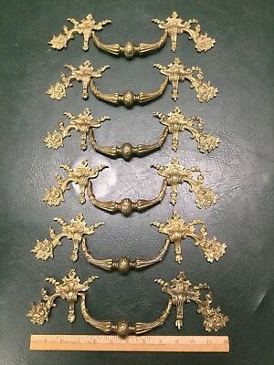 Hardware Exceptional Set Of 6 Matching Ornate Brass Dresser Stand Drawer Pulls Handles