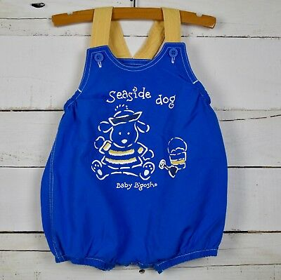 vintage Boys Baby B'Gosh OshKosh Sz 3 6m Blue Yellow One Piece Overall Romper