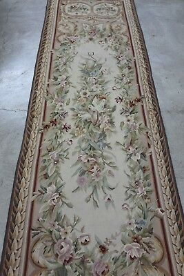"""Antique Needlepoint Aubusson French Tapestry Runner Rug 119""""x30""""  Circa 1910"""