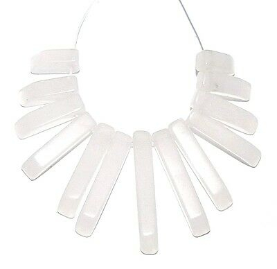 P1624 White Jade 10mm - 30mm Graduated Mini-Fan Gemstone Pendant Bead 13pc Set