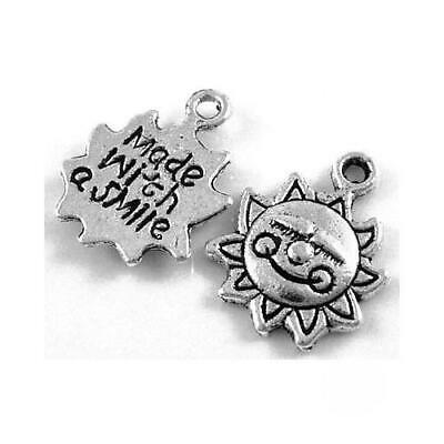 Packet 20 x Antique Silver Tibetan 16mm Made With A Smile Charm/Pendant ZX09115