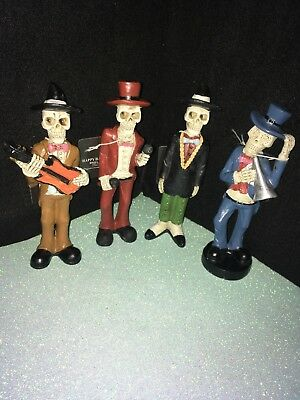 Mariachi Set  Dia De Los Muertos Day Of The Dead Skelletons New Set Of 4