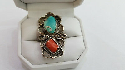 Antique / Vintage Sterling Silver Turquoise & Coral Ring Size 6.75 - 8394
