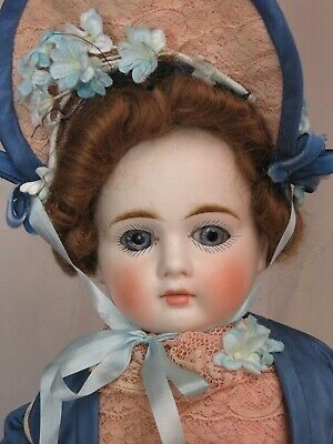 """ANTIQUE German BISQUE Fashion DOLL Closed MOUTH Belton type VICTORIAN DRESS 20"""""""