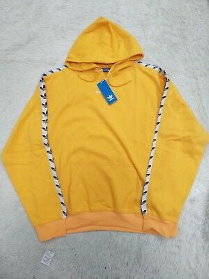 new arrival aa62a 96b79 Adidas Originals Trefoil Logo TNT Tape Pullover Hoodie Yellow