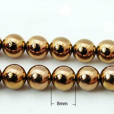 Packet 8 x Pale Bronze Hematite (Non Magnetic) 8mm Plain Round Beads VP2805
