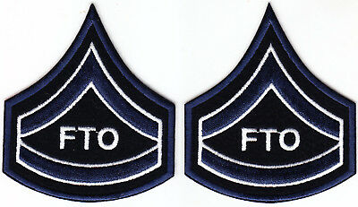 One Pair Corporal FTO Police Security Chevrons Stripes Patch Black//Silver//Green