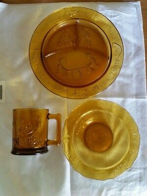 Vintage Amber Glass Childs Divided Plate, Bowl, and Cup Set Tiara by R.S.