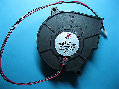 2 pcs Brushless DC Blower Fan 24V 7530S 75x75x30mm 2 Wires Sleeve-bearing New