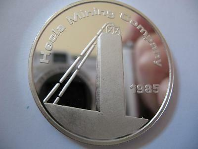 1-Oz .999 Silver Bullion Coin1985 Hecla Mining Company Idaho And New Mexico+Gold