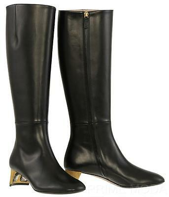 78a9eb2284ab New Gucci Black Leather Swarovski Crystal Heels Knee Boots Shoes 38 us 8