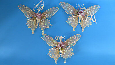 3 Victorian Style Beaded Butterfly Christmas Ornament