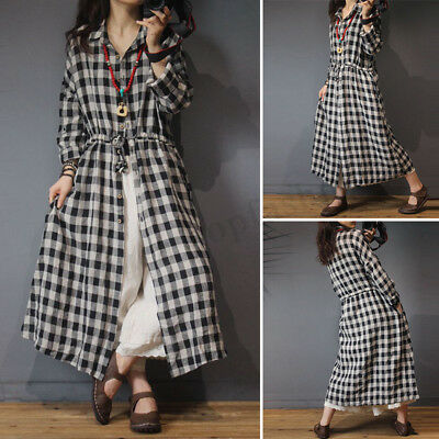 4f0c322a576af5 ZANZEA Womens Plaid Check Buttons Long Sleeve Drawstring Loose Split Shirt  Dress