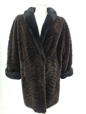 434f2ee70 LONG Sheared Beaver Faux Fur Coat Jacket Large Brown Women's 36451