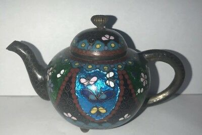 Chinese Cloisonné Teapot Beautiful Antique Mini Miniature Iridescent Butterfly