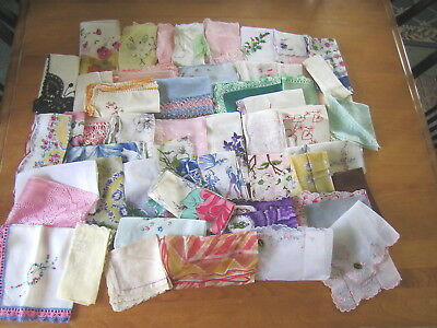 Lot of 51 Vtg Ladies Hankies Handkerchiefs Varies in Sizes Styles