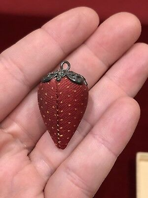 Antique Sewing Strawberry Emery Needle Sharpener with Fancy Sterling Silver Top