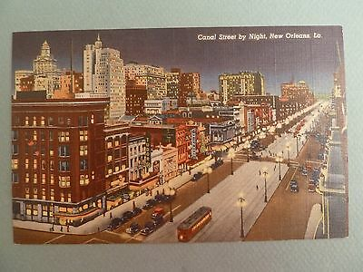 New Orleans Louisiana Postcard Downtown Canal Street by Night LA Vintage LINEN