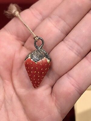 Sweet Tiny Antique Sewing Strawberry Emery Needle Sharpener Sterling Silver Top