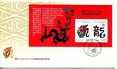 2012 Christmas Island Year of The Dragon (Mini Sheet) FDC