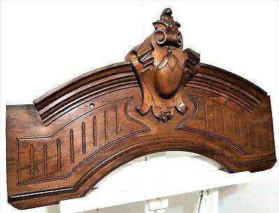 Architectural gothic coat of arms Antique french hand carved wood salvaged crest