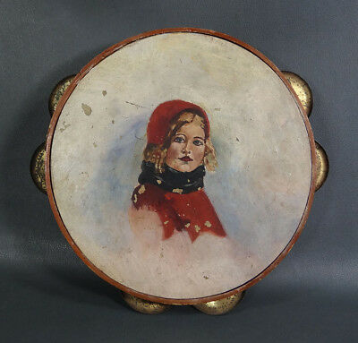 Antique Little Red Riding Hood Character Painting Tambourine Daire Instrument