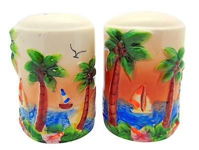 Westman Works Tropical Paradise Salt and Pepper Shakers with Island Beach Scene