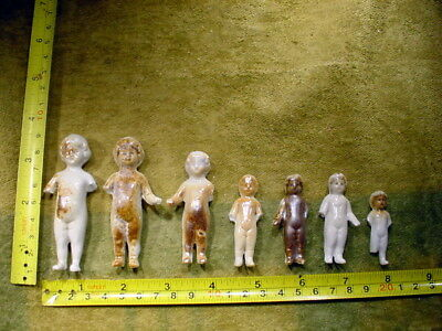 """7 x excavated vintage victorian frozen charlotte Doll age 1860 1.7-2.8 """" A 11663"""