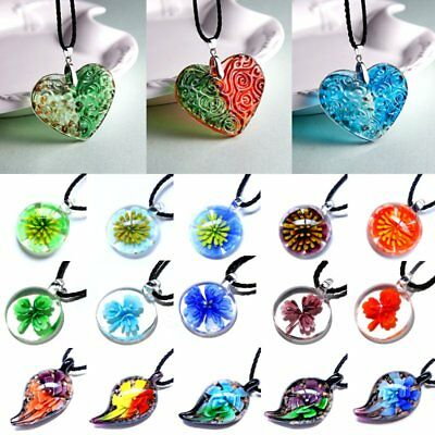 Women Murano Lampwork Glass Waterdrop Heart Round Flower Pendant Necklace Gift