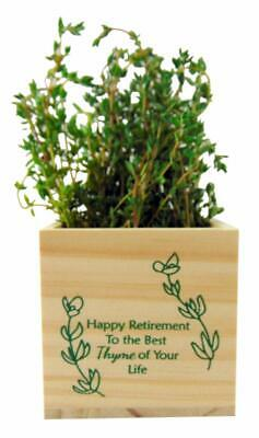 Happy Retirement Plant Pot To The Best Thyme of Your Life Wooden Cube Sentiment