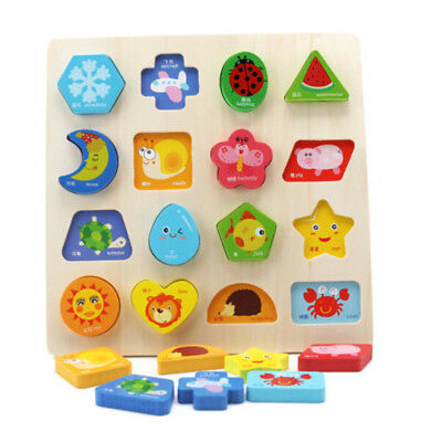 Kids Baby Wooden Learning Fruit Animals Educational Toys Puzzle Montessori BS