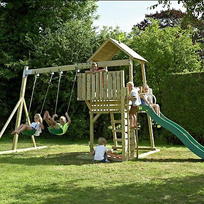 TP Kingswood Wooden Swing Set and Tower Slide