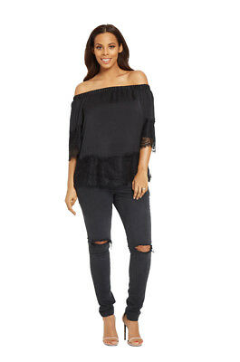 V By Very Lace Trim Bardot Top