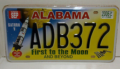 Matricula Usa Alabama First To The Moon Saturn V Replica License Plate