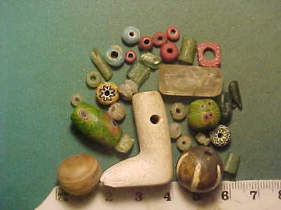30+ ancient beads circa 1000 BC-1700 AD + Roman alabaster foot   amulet