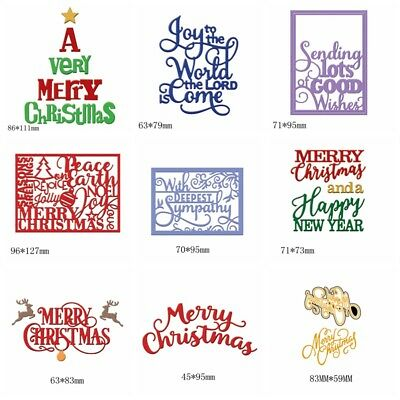 Various Styles Merry Christmas Words Metal Cutting Dies DIY Scrapbooking Craft