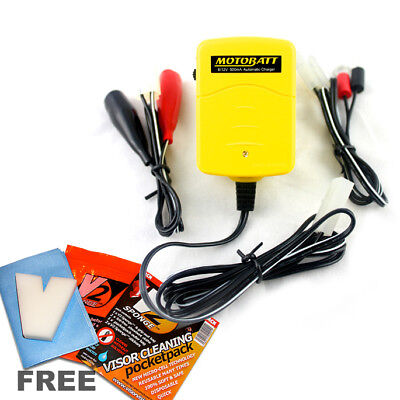 New Motobatt Baby Boy 6V & 12V Motorcycle Battery Trickle Charger, Auto Cut Off