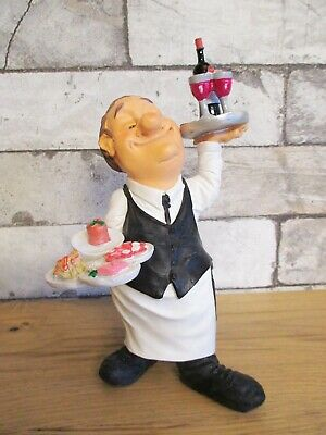 Kellner Restaurant 2 Tablets Funny Beruf Figur Profession 20 cm Neu