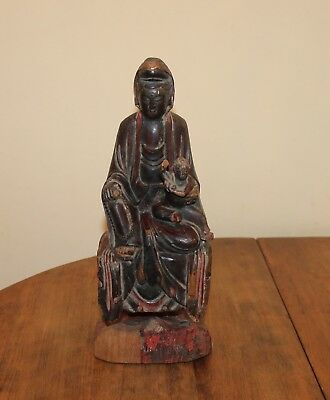 """Antique Chinese Wood Polychrome Statue of Child-Granting GUANYIN 11"""""""