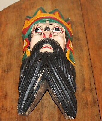 "Vintage Mexican 15"" Tall Carve Wood Painted Folk Art Dance Mask King Crown Beard"
