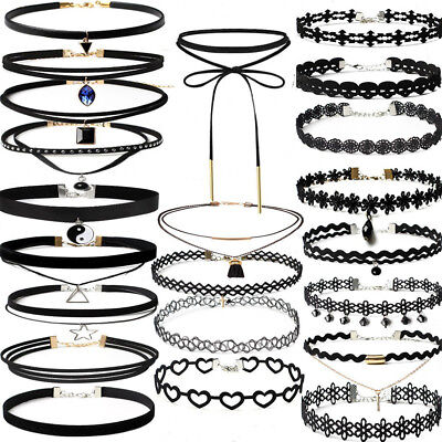 22/12PCS Tattoo Lace Choker Necklace Stretch and Velvet Ribbon Gothic Collar