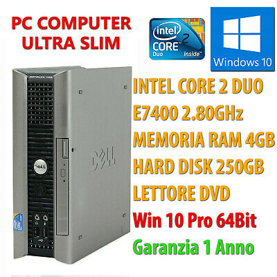 Pc Computer Desktop Fisso Ricondizionato Intel Dual Core 4Gb 250Gb Windows 10