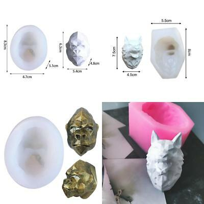 Silicone DIY 3D Wolf Gorilla Head Gypsum Plaster Clay Craft Mould Candle Mold